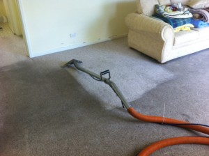 Very Dirty Carpet Being Cleaned